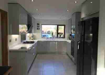 Gloss dove grey kitchen in South Notts