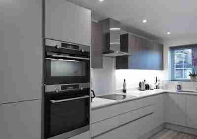 light grey matt doors combined with fleetwood graphite grey in West Bridgford