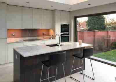 A classic modern orangery kitchen in Mansfield