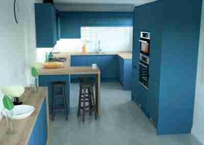 Rustic oak & blue handle-less kitchen
