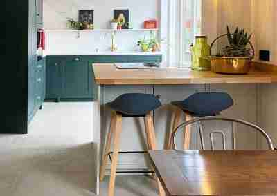 Forest green & mussel in-framed style kitchen