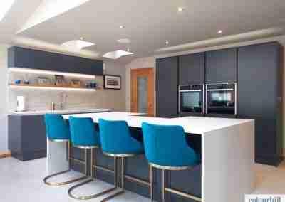 Ultra-crisp modern kitchen in graphite grey.