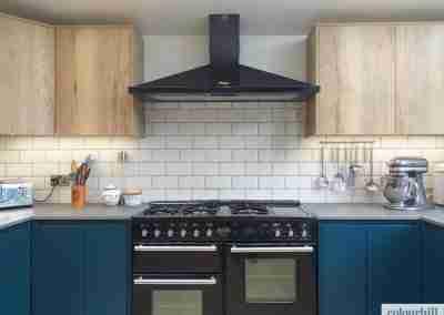 Blue marine kitchen featuring halifax oak.