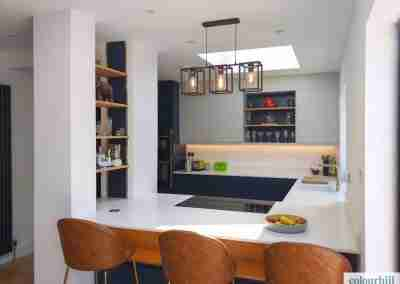 Marine blue & dove grey with feature oak shelving